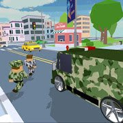 Blocky Army City Rush Racer MOD много денег
